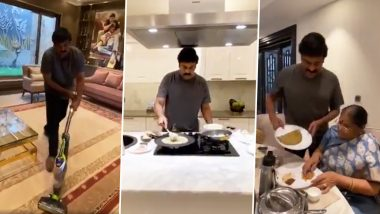 Superstar Chiranjeevi Takes Up #BetheREALMAN Challenge, Vacuums The Floor and Cooks Delicious Food for His Mom (Watch Video)