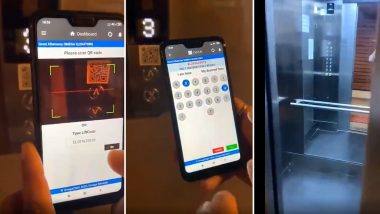 Video of Contactless Smart Elevator Operated Through Mobile Application And Bar Code Goes Viral As People Prefer Going Touch-Less Amid COVID-19 Outbreak