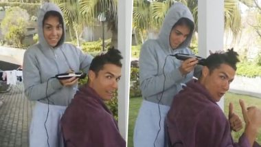 Cristiano Ronaldo Follows Virat Kohli, Gets Hair-Cut From Girlfriend Georgina Rodriguez to Keep Himself 'Stylish' Amid Lockdown (Watch Video)