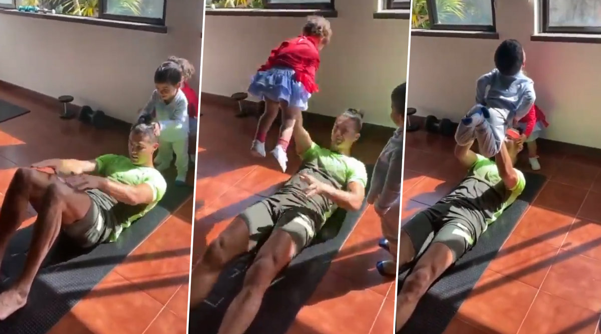 Cristiano Ronaldo Joined by His Kids During Home Workout Amid ...