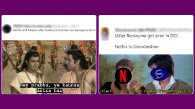 Funny Memes: As Doordarshan Re-Telecasts Old TV Shows Shaktimaan, Ramayan, Netizens Poke Fun at Netflix, Amazon Prime & Other Streaming Platforms For The Ultimate Showdown!