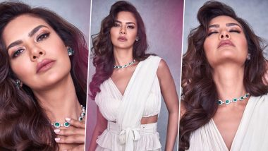 Esha Gupta, All Things Sleek, Sultry and Rapturous in a Sublime Ruffle Saree by Arpita Mehta!