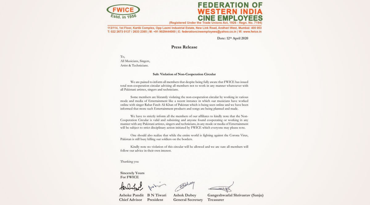 FWICE Issues Strict Notice Against Musicians Who Are Working With Rahat Fateh Ali Khan and Other Pakistani Artists