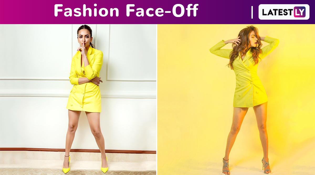 Fashion Face-Off: Kriti Kharbanda or Amruta Khanvilkar in a Neon Yellow Blazer Dress by Nayantaara? Who Wore It Better?