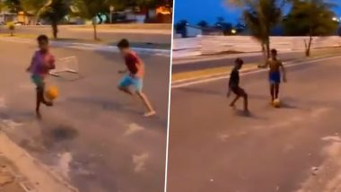 Out of Nowhere! Boy Scores Spectacular No-Look Goal and Celebrates in Cristiano Ronaldo Style (Watch Video)