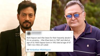 1967+53 and 1953+67=2020, Simple Maths? Don't Blame 2020 Based on This Calculation For Sad Demise of Rishi Kapoor and Irrfan Khan! Your Age+Year of Birth Always Gives You Current Year