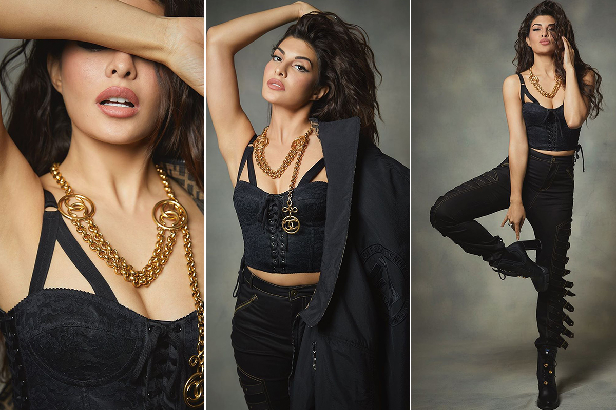 Jacqueline Fernandez in All Black for a photoshoot