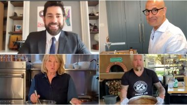 John Krasinski Hosts a Virtual Potluck With Martha Stewart, Guy Fieri and More; Stanley Tucci Whips Up an Amazing 'Quarantini' (Watch Video)