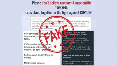PM Narendra Modi Asked Indians to 'Light Candles' On April 5 at 9 PM As It Will Cure Coronavirus? Fake Viral Messages Fact-Checked, Called 'Unscientific' by PIB