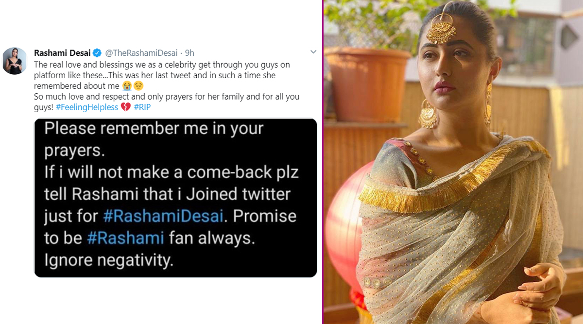 Rashami Desai's Fan Dies of COVID-19, Actress Offers Condolences to Her Family (View Tweet)