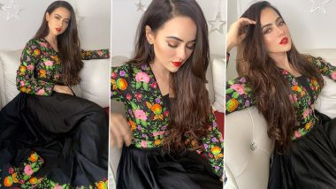 Sana Khan Is Chic in Dark Florals but Her Red Lips and Perfect Winged Eyes Have Us Hooked!
