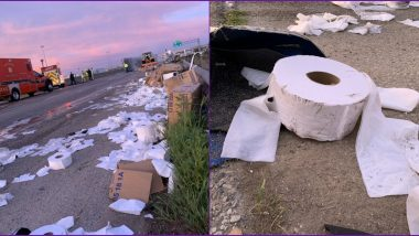 Toilet Paper Crisis! Truck Carrying Toilet Paper Rolls Crashes and Catches Fire on Texas Highway, Netizens Are Upset With The Damage (Watch Pics and Video)