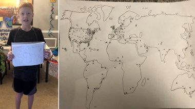 Most Unique Birthday! Twitterati Joins in Wishing Brandon, a Geography Fan From Across Countries During Quarantine, He Jots Their Location on his World Map! (See Pictures)