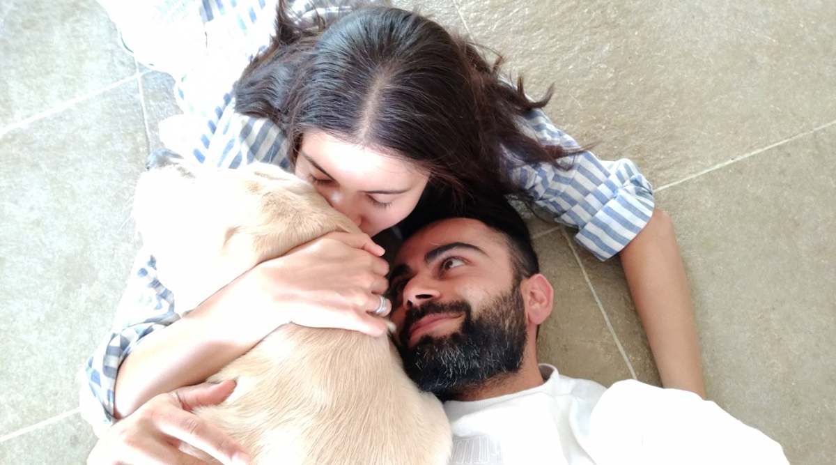 Virat Kohli, Wife Anushka Sharma and Their Pet Dog Dude Steal the Show on Twitter; Indian Cricket Team Captain Posts Picture of Trio Cuddling Each Other
