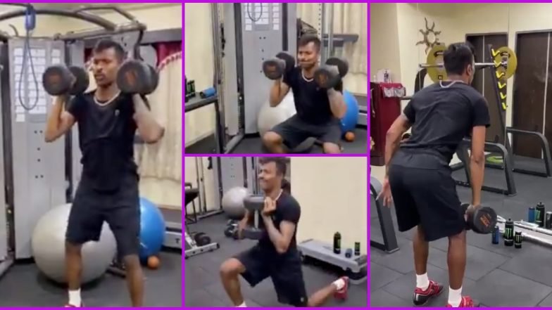 Hardik Pandya Trains at Home Gym Amid Lockdown, Says Don't Forget About Personal Fitness During Quarantine (Watch Video)