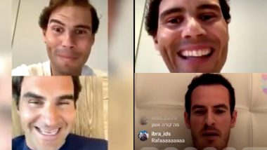 Roger Federer, Andy Murray Join Rafael Nadal During Instagram Live; Tennis Duo Troll Spaniard After he Struggled to Use the Platform (Watch Videos)