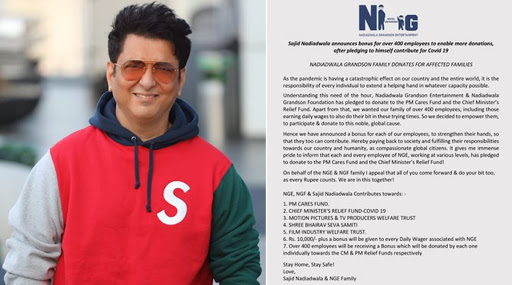 Sajid Nadiadwala Announces Bonus For 400+ Employees While Also Donating Money To PM Cares And CM's Relief Funds Among Others
