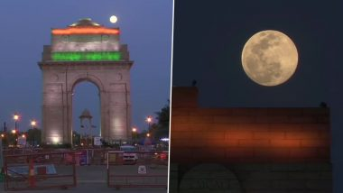 April Super Pink Moon 2020 Captured From Delhi's India Gate, View Stunning Pics of the Biggest Supermoon of the Year