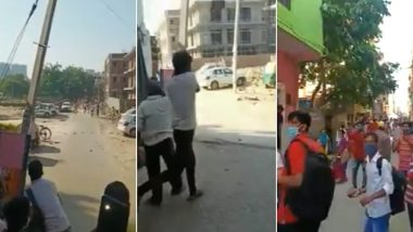 Stones Pelted at Police on Delhi-Gurugram Border After Workers Were Not Allowed to Enter Haryana, Watch Video
