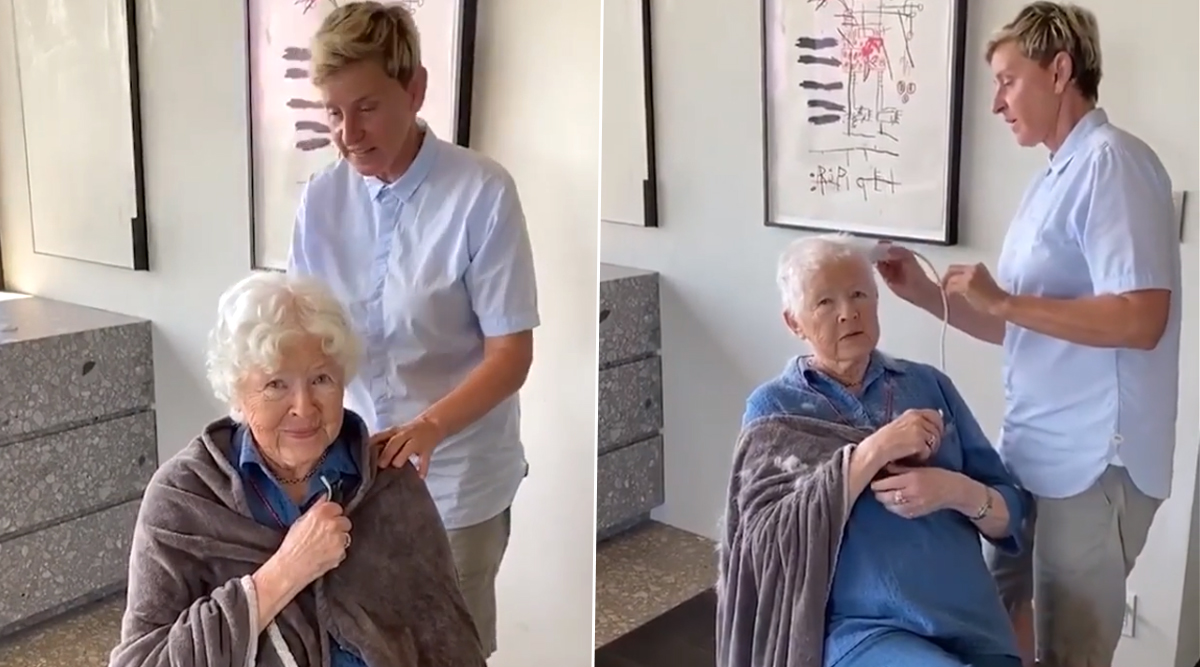 Ellen DeGeneres Gives a Quarantine Haircut to Her Mother on Her 90th Birthday (Watch Video)