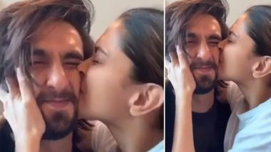 Deepika Padukone Gives a Tight Kiss to Ranveer Singh, Says Her Hubby Has 'World's Most Squishable Face'