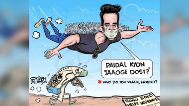 Sonu Sood's Charitable Superheroics to Help Migrant Workers Make For An Apt Cartoon (View Pic)