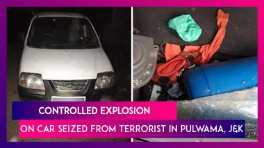 Controlled Explosion Carried Out On Car Seized From Terrorist In Pulwama, Jammu & Kashmir