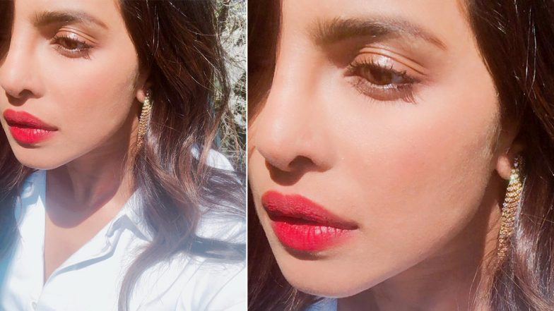 Priyanka Chopra Is 'Feeling Adventurous' as She Shares Stunning Sunkissed Selfie Slaying in Cherry Red Lips (View Pic)