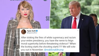 Taylor Swift Blast Out at Donald Trump For White Supremacy and Racism; Singer Threatens to Vote US President Out of Power Is the Most Liked Tweet till Date