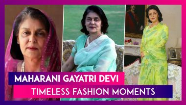Maharani Gayatri Devi Birth Anniversary: Iconic Fashion Wardrobe Essentials for Timeless Elegance!