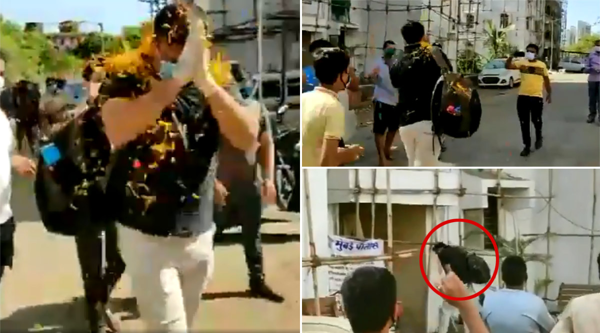 Mumbai Police ASI Kiran Pawar Receives Grand Welcome As He Reaches Home After Recovering From COVID-19, Neighbours Shower Flowers; Watch Video
