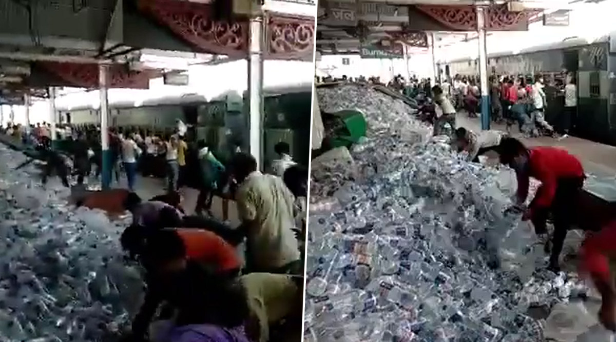 Passengers of Shramik Special Train 'Loot' Water Bottles at Pandit Deen Dayal Upadhyaya Railway Station, Netizens Raise Questions on Government Facilities; Watch Video