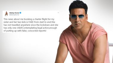 Akshay Kumar Lashes Out At Media Portal For Publishing 'FAKE' News Of Booking A Chartered Flight For Sister; Says 'Contemplating Legal Action' (View Tweet)