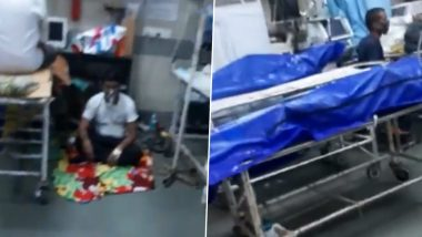 Video Showing Body Bags Lying Near Patients Inside Mumbai's KEM Hospital Ward Shared by BJP MLA Nitesh Rane, Patient Seen Sitting on Floor