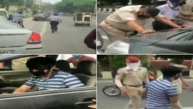 Punjab Police Officer Dragged On Car's Bonnet by Rogue Motorist Violating COVID-19 Lockdown in Jalandhar; Watch Video