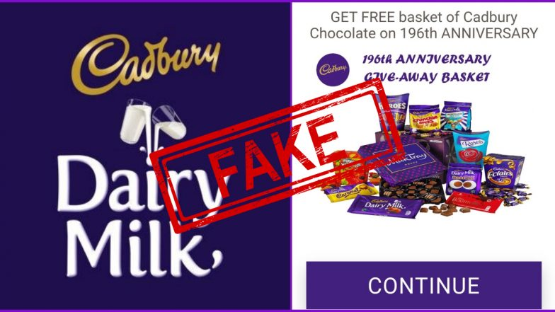 Fact Check: Cadbury Giving Away 500 Free Baskets of Cadbury Chocolate to EVERYONE on its 196th Anniversary? Know Truth About This Fake Message