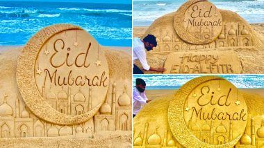 Eid Mubarak 2020 Sand Art By Sudarsan Pattnaik on Odisha's Puri beach (View Pics)