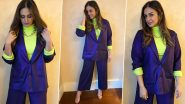 Huma Qureshi Is Taming Neon and Navy Blue All in One Perfect Pantsuit Vibe!