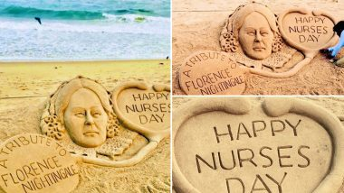 International Nurses Day 2020 Greetings: Sudarsan Pattnaik Pays Tribute to Florence Nightingale With a Beautiful Sand Art, Thanks Nurses For Their Tireless Efforts During COVID-19
