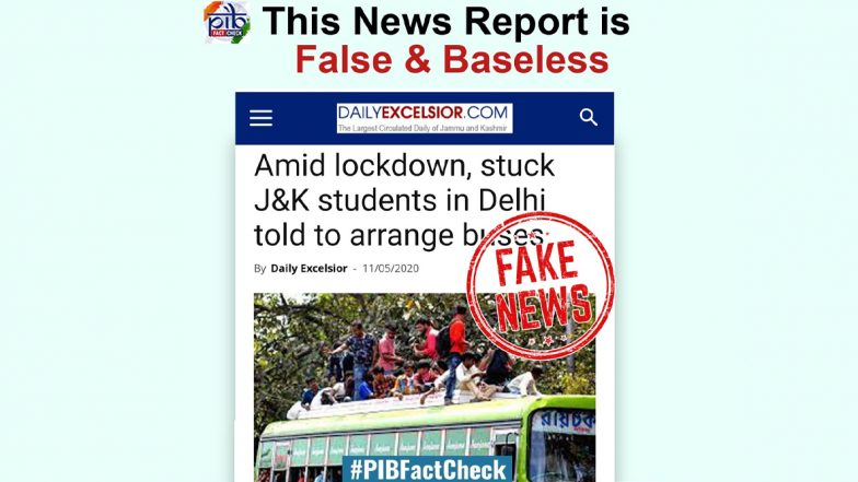 Jammu & Kashmir Students in Delhi Told to Arrange Buses by Themselves to Return Home? PIB Fact Check Finds News to be Fake