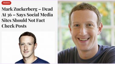 'Mark Zuckerberg Dead at 36' Satire Headline Impresses Twitterati! Mocks Facebook CEO's Stance Over Social Media Not Being 'Arbiter of Truth'