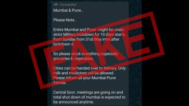Mumbai, Pune To Be Under Military Lockdown For 10 Days From May 31? Mumbai Police Debunks Fake News