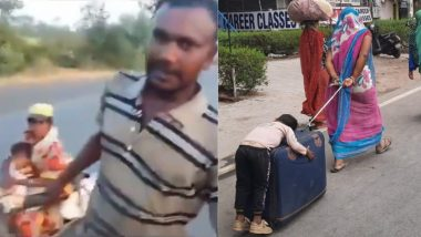 Migrant Crisis: From Man Dragging Pregnant Wife for 700 Km to Child Sleeping on Trolley Bag, Videos of Migrant Workers Struggling to Reach Their Homes Will Break Your Heart