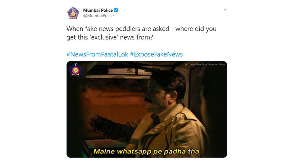 Mumbai Police Uses a Witty 'Paatal Lok' Meme to Spread Awareness Against Fake WhatsApp News (View Pic)