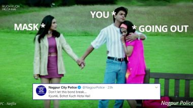 Nagpur Police's Kuch Kuch Hota Hai-Inspired Meme Will Convince You That 'Bohot Kuch Hota Hai' If You Step Out Without Mask Amid COVID-19 Lockdown (View Tweet)