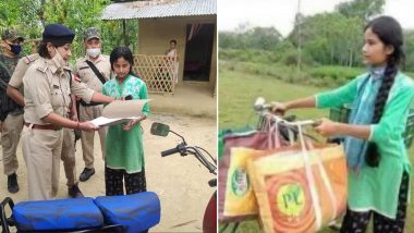 Dibrugarh Police Gifts Moped to Young Girl Selling Vegetable on Bicycle To Support Her Family, See Pics