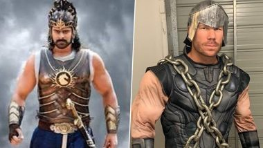 David Warner Shares Picture of Himself and Prabhas in Baahubali Costumes, Asks Fans Whose Attire Is Better (See Post)