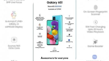 Samsung Galaxy A51 With 8GB RAM & 128GB Storage Variant Launched in India at Rs 27,999; Check Features & Specifications