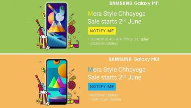 Samsung Galaxy M11, Galaxy M01 Smartphones Scheduled To Launch in India on June 2; Teased Online on Flipkart
