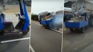 Tempo Without Driver Moves on Ankleshwar Highway in Gujarat and Crashes Into a Truck, Old Video Goes Viral on Social Media